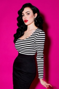 TopVintage exclusive ~ 50s Trouble Maker Top in Black and White Stripes
