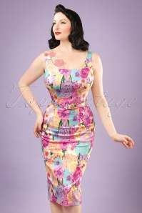 50s Ines English Garden Pencil Dress in Multi