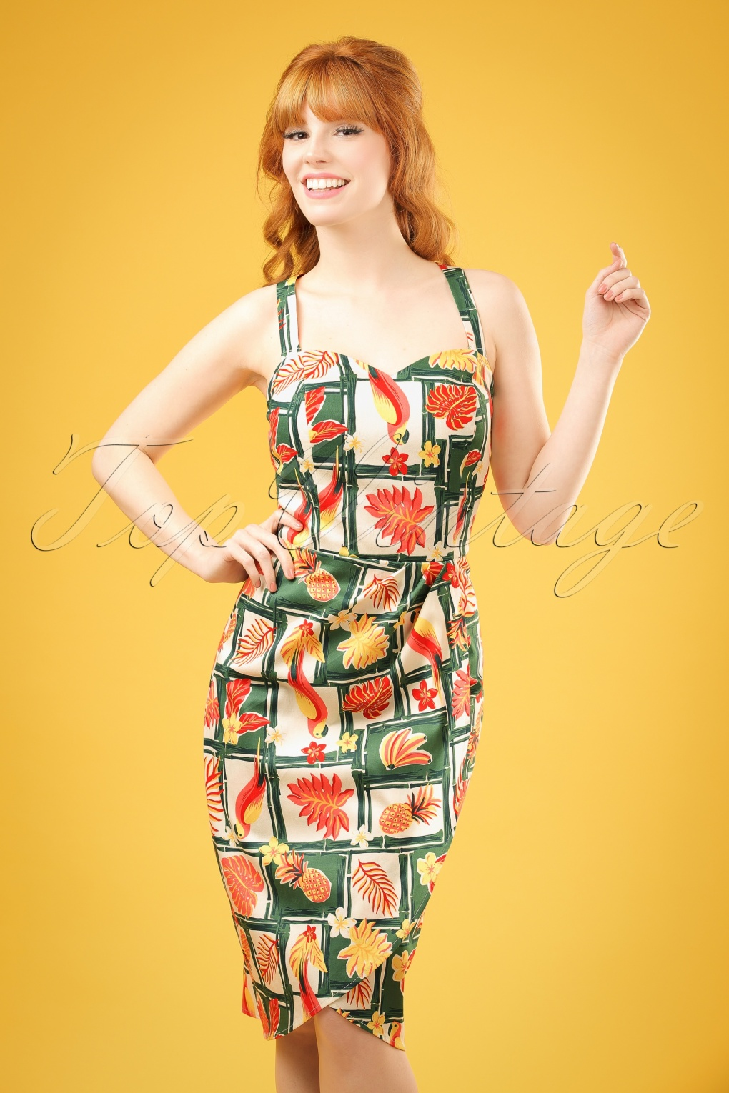 1940s 1950s Pinup Dresses for Sale 50s Mahina Tropical Bamboo Sarong Dress in Multi £50.86 AT vintagedancer.com