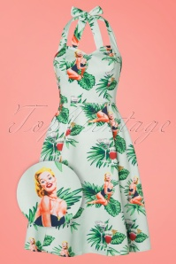 Collectif Clothing Lori Mint Tropical Halter Swing Dress 102 49 21477 20170327 0012aW