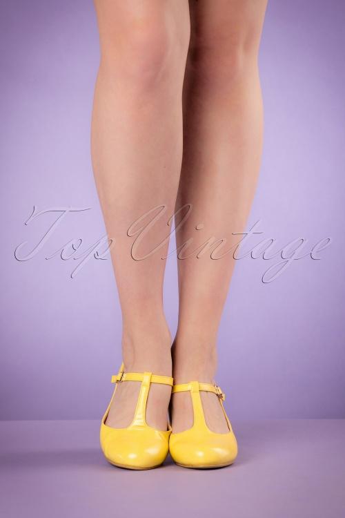 a0bbf7d0c2c Lulu Hun Yellow Chrissie Block Heel Shoes 401 80 20868 03222017 009W