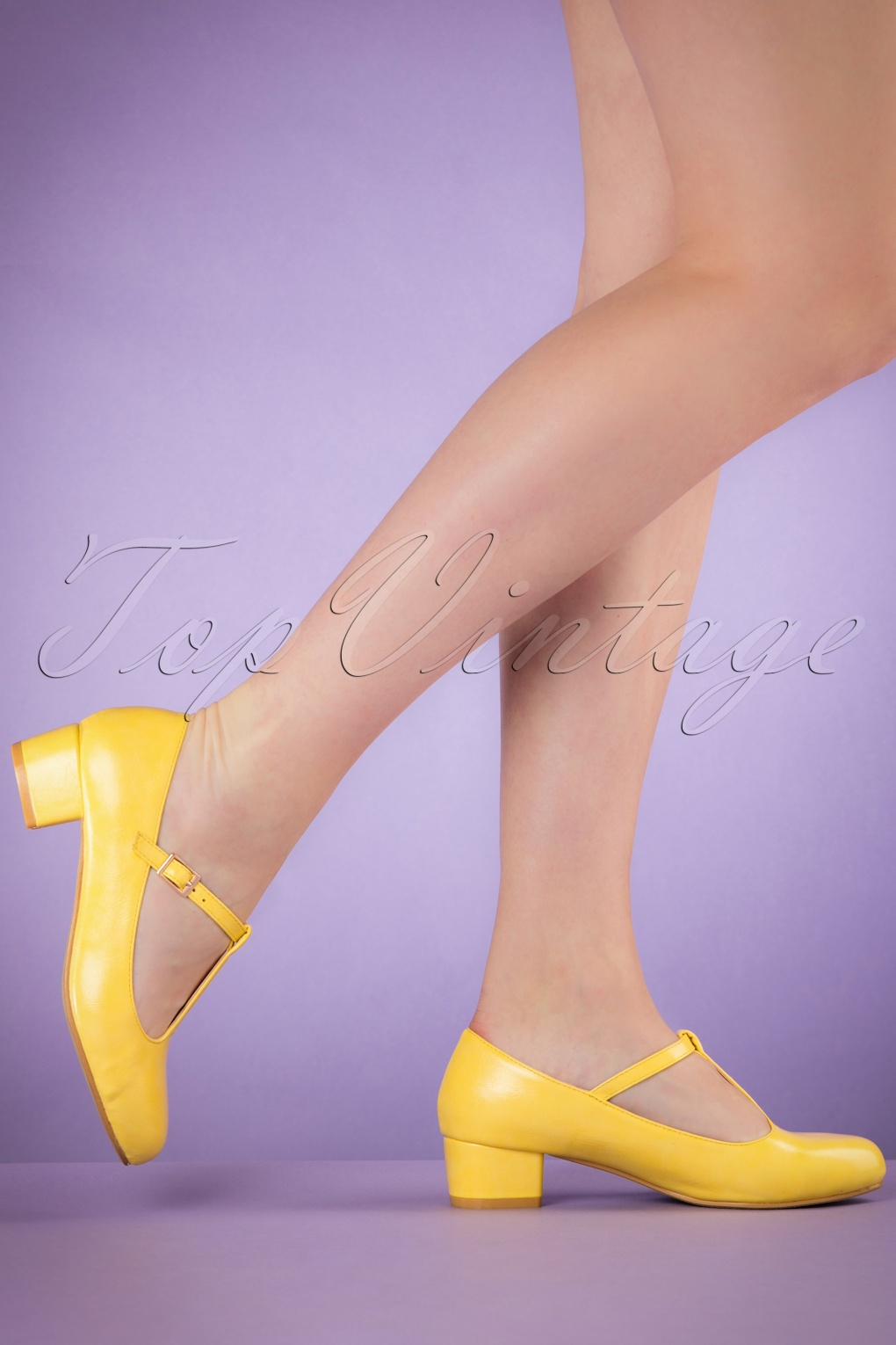 60s Chrissie T Strap Pumps In Yellow