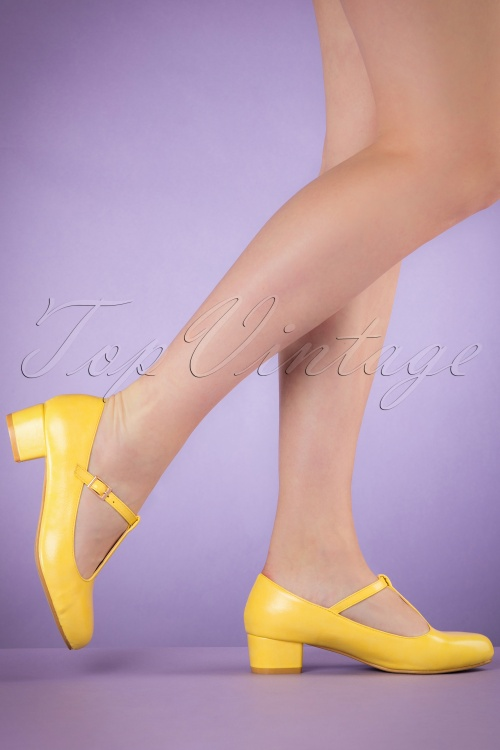 Lulu Hun Yellow Chrissie Block Heel Shoes 401 80 20868 03222017 002W