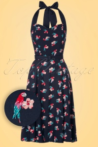 Collectif Clothing Beth Parrot Navy Halter Dress 102 39 21478 20170327 0001W1