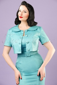 50s Ellie Cropped Jacket in Light Blue