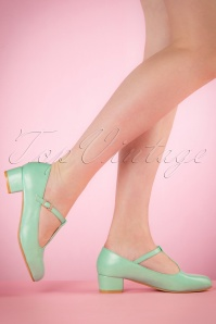 60s Chrissie T-Strap Pumps in Mint