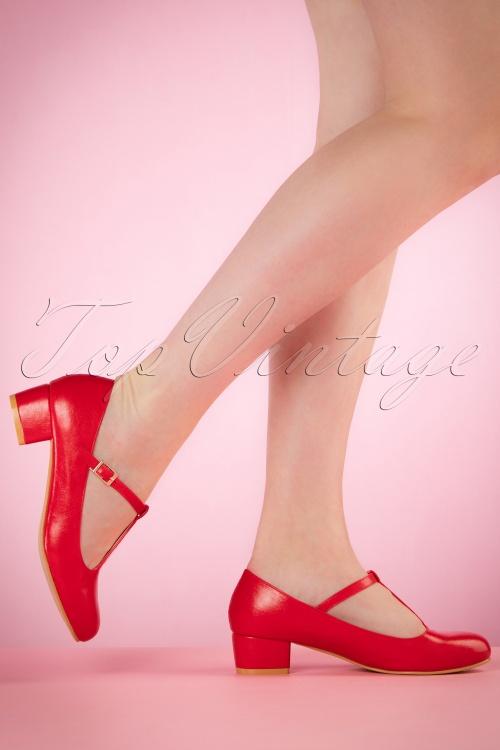 Lulu Hun Red Chrissie Block Heel Shoes 401 20 20867 03222017 001W