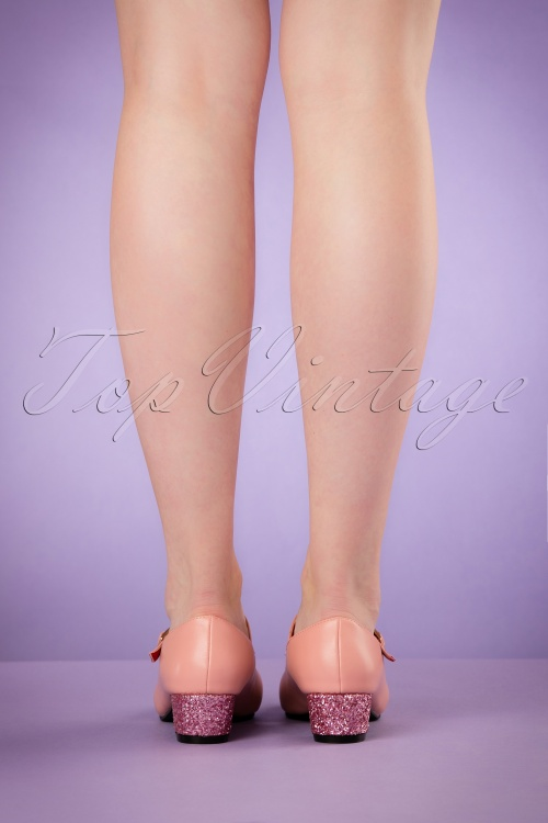 8e92be42003 Lulu Hun Pink Chrissie Glitter Block Heel Shoes 401 22 20865 03222017 009W