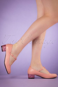 60s Chrissie Glitter T-Strap Pumps in Pink