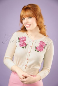 50s Jessie Floral Cardigan in Ivory