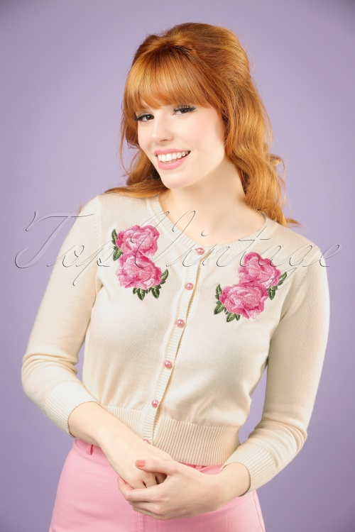 Collectif Clothing Jessie Floral Cardigan in Ivory 20750 20121224 0001W