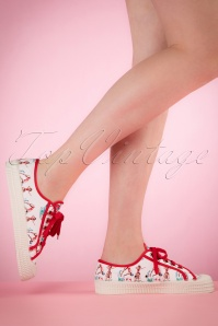 50s Beach Party Canvas Sneakers in White and Red
