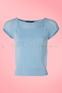 Collectif Clothing Claire Knitted Top in Blue 20712 20161130 0002W
