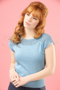Collectif Clothing Claire Knitted Top in Blue 20712 20121224 0001W