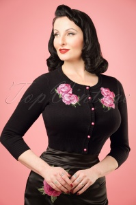 50s Jessie Floral Cardigan in Black