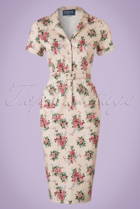 Collectif Clothing Catherina 40s Floral Pencil Dress 20824 20161129 0002W