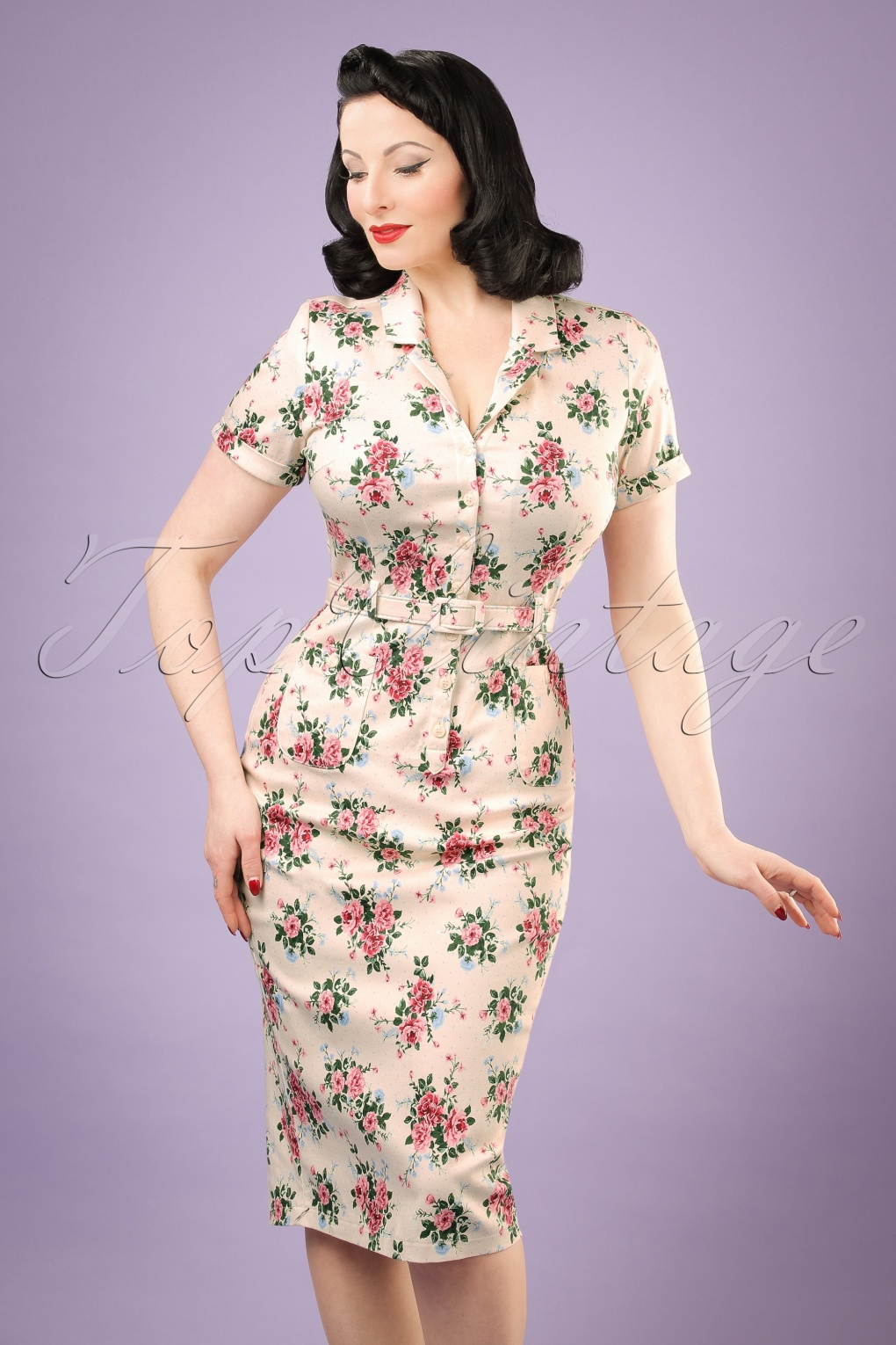 1940s Dresses and Clothing UK 40s Caterina Floral Pencil Dress in Beige £46.91 AT vintagedancer.com