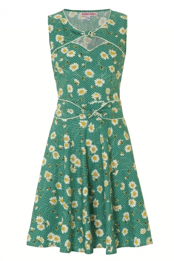 116 - TWIST N SHOUT DRESS - GREEN PUSHING DAISIES