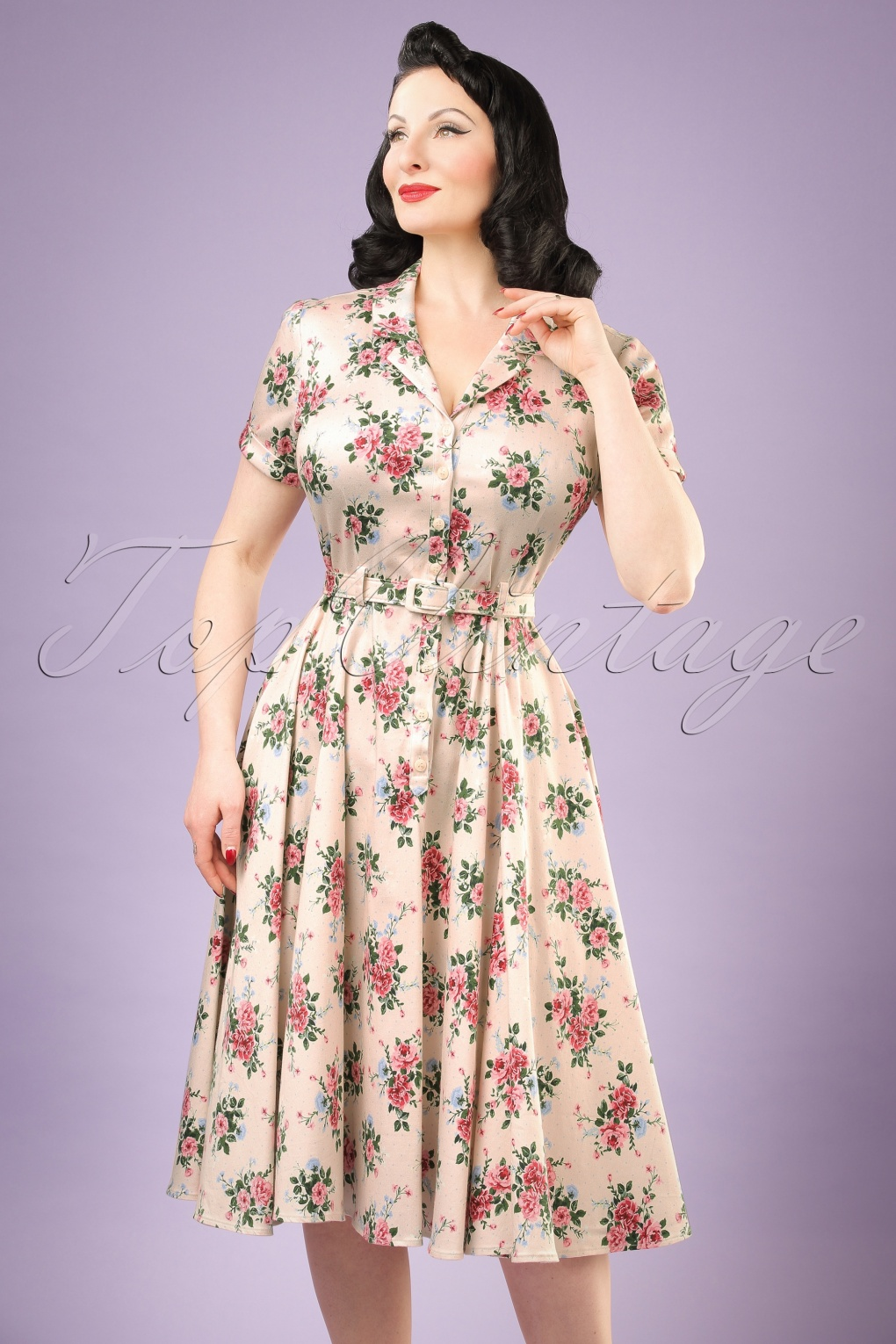 1940s Dresses and Clothing UK 40s Caterina Floral Swing Dress in Beige £53.16 AT vintagedancer.com