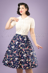 50s Theodora Charming Birds Swing Skirt in Dark Blue