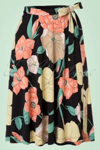 60s Stellar Wrap Skirt in Black