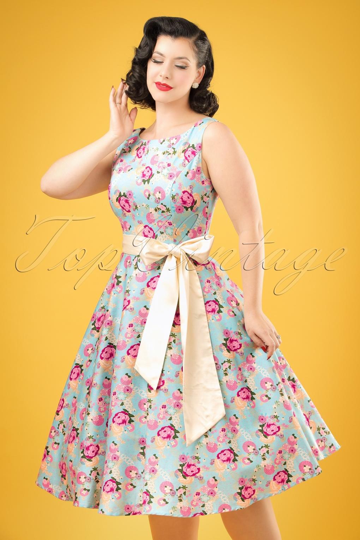 1950s Swing Dresses 50s Margaret Origami Floral Swing Dress in Light Blue £72.06 AT vintagedancer.com
