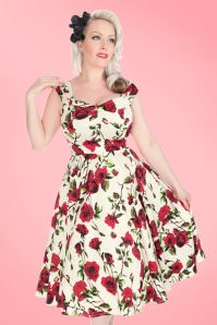 50s Ditsy Roses Swing Dress in Ivory