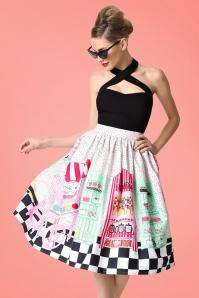 Unique Vintage 1950s Candy Shop High Waist Circle Swing Skirt 122 59 21460 model04