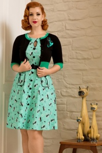 50s Kitty Cats Swing Dress in Mint Green