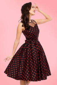 50s Elizabeth Polkadot Swing Dress in Black and Red
