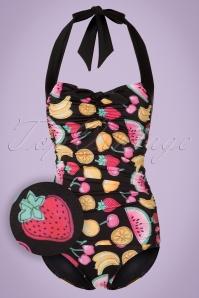 50s Tutti Frutti Swimsuit in Black