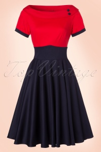 TopVintage Exclusive ~ 50s Darlene Swing Dress in Red and Navy