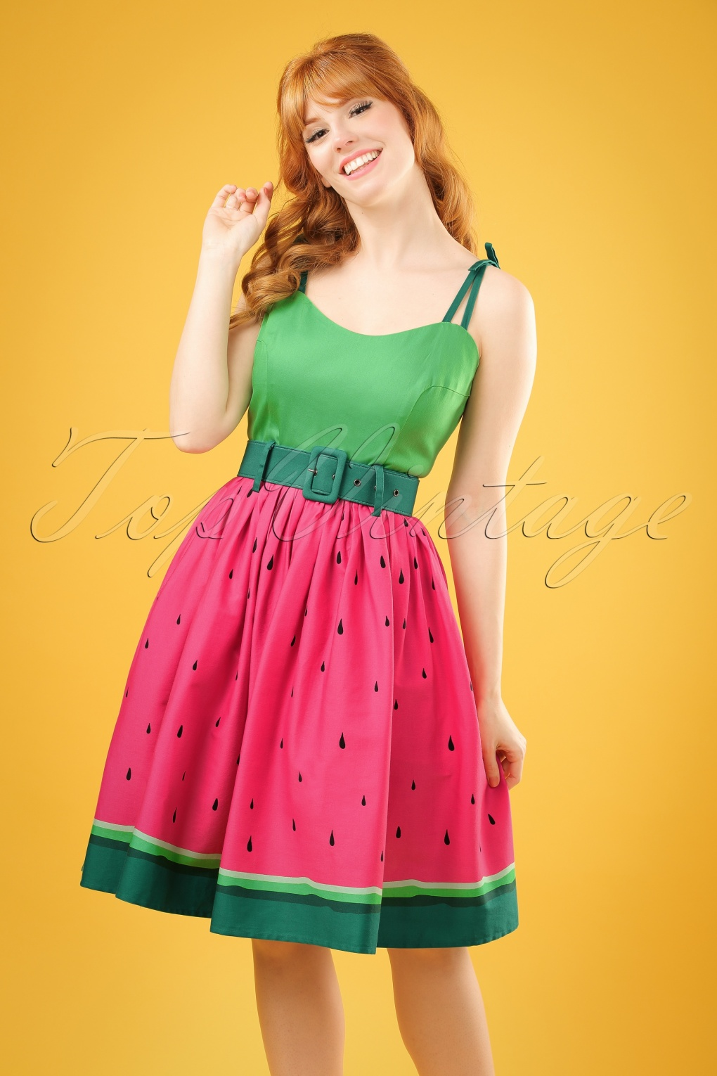 Swing Dresses | Vintage Inspired Dresses 50s Jade Watermelon Swing Dress in Pink and Green £72.98 AT vintagedancer.com