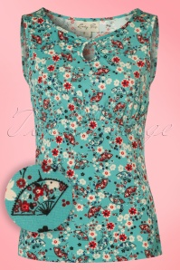50s Daisy Ditsy Fan Top in Turquoise