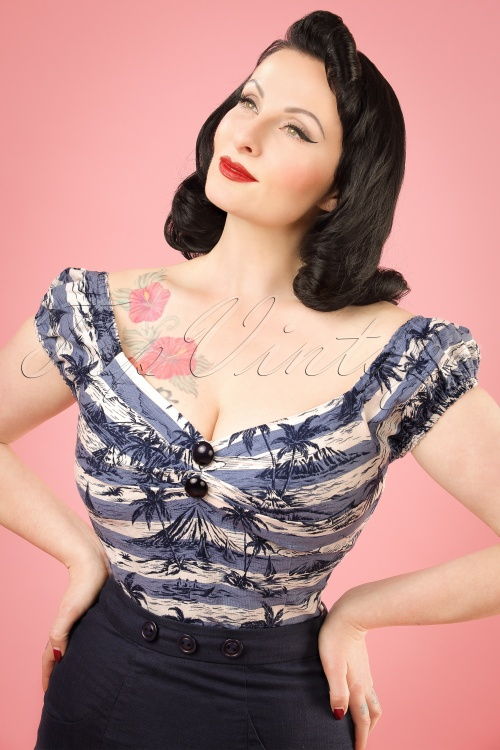 Collectif Clothing Dolores Mahiki Top in Blue 20669 20121224 0001W