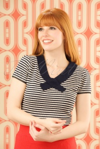 60s Lou Stripes Top in Navy and Cream