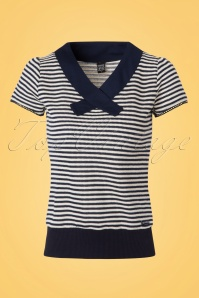 Mademoiselle Yeye Lou Top in Stripes Navy Offwhite 19879 20161116 0003W