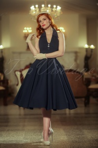Vintage Diva the Rose Swing Dress in Dark Navy 21165 20170227 0020W
