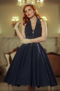 Vintage Diva the Rose Swing Dress in Dark Navy 21165 20170227 0020cW