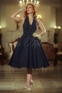Vintage Diva the Rose Swing Dress in Dark Navy 21165 20170227 0019W