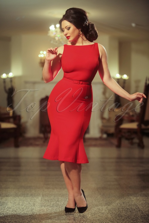 Vintage Diva The Coco Dress in Bright Red 20590 20170227 0013w