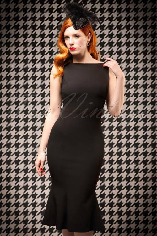 The coco trumpet dress in ink black for Diva attire