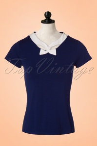 50s Holywell Top in Navy