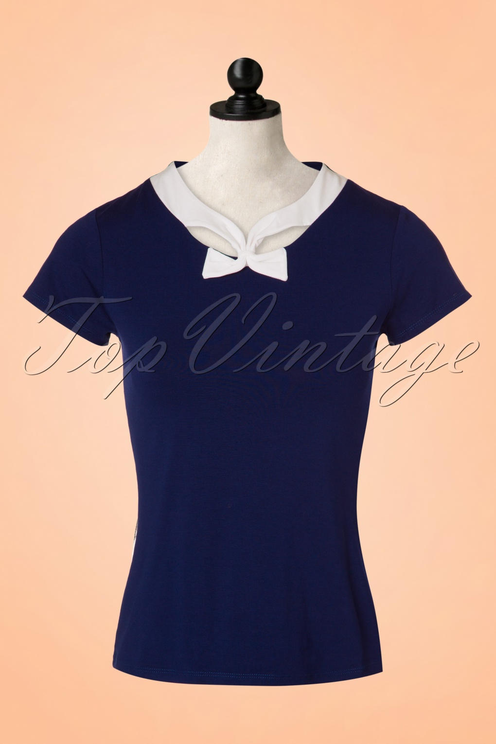 1950s Rockabilly & Pinup Tops, Shirts, Blouses 50s Holywell Top in Navy £34.61 AT vintagedancer.com