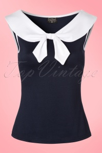 Steady Clothing Betsy Bow Top in Navy 110 31 21132 20170329 0001W