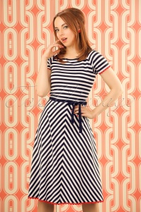 60s Kim Stripes Dress in Navy and White