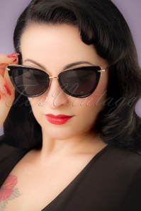 Collectif Clothing Black and Gold Dita Cats Eye Sunglass 260 10 20351 01W