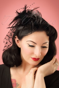 40s Genevieve Feathers and Veil Fascinator Headband in Black