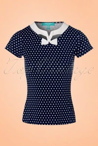 50s Holywell Polkadot Top in Navy