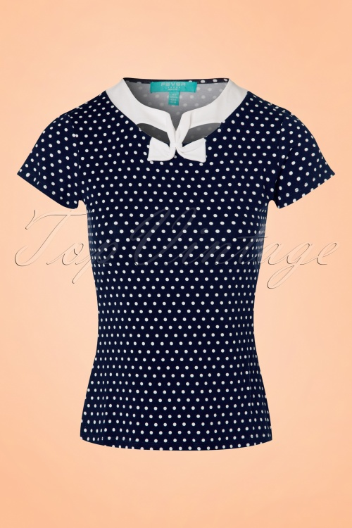 Fever Holywell Polkadots Top in Navy  111 39 20075 20170329 0004w